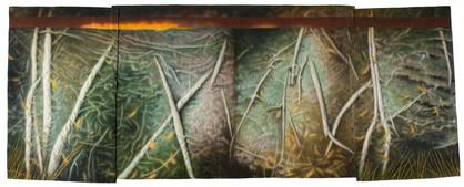 Jan 02 Bones of Paths (painted textile)