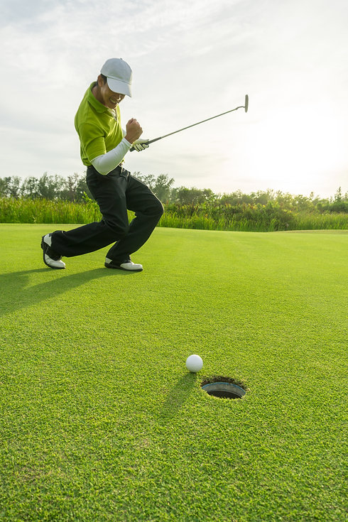 Golfer action to win after putting golf