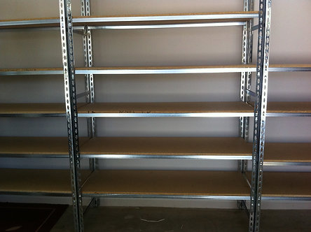 Garage and Shed Zinc Plated Shelving + Particleboard Shelves