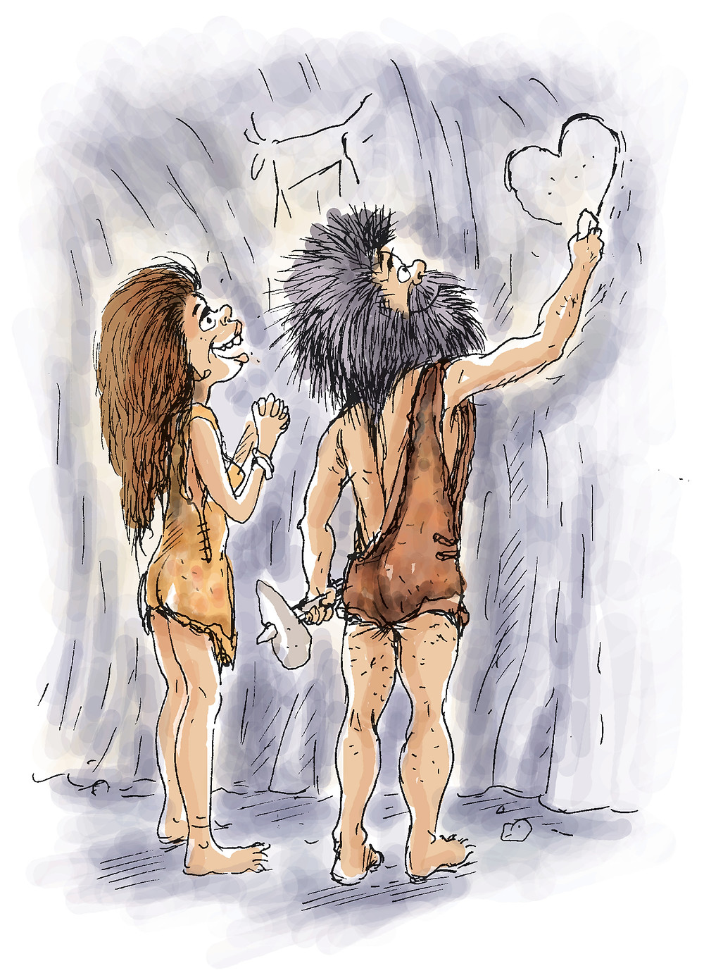 Cave Man and Woman drawing love heart on a cave wall.