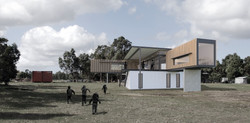 Lanigan Architects - Kaloorup Shipping Container Home - concept design - outdoor deck from water