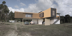 Lanigan Architects - Kaloorup Shipping Container Home - concept design - side view