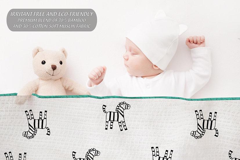 First Year Bamboo Muslin Blanket (4 layers) - Zebra