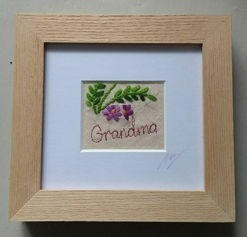 Embroidered Small 'Grandma' Frame