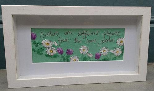 Embroidered 'Sister' Frame