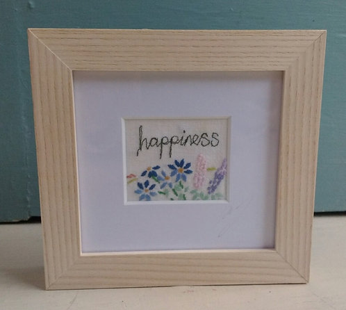 Embroidered Small 'Happiness' Frame