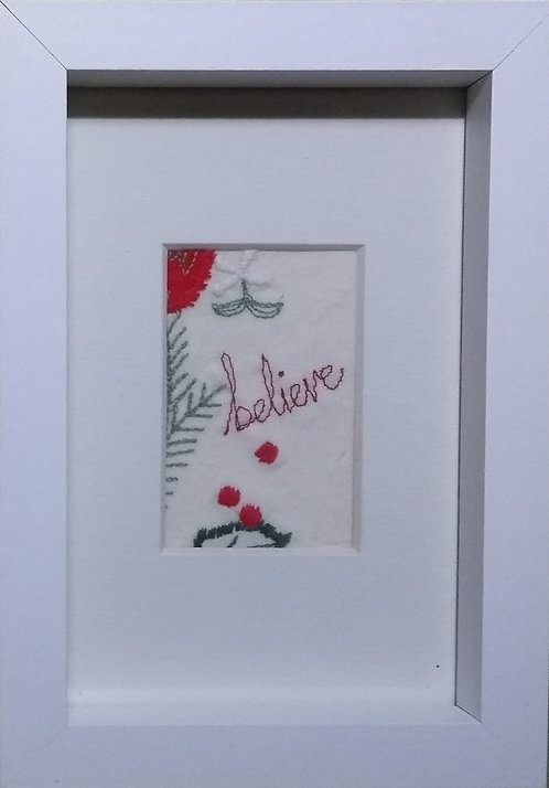 Embroidered 'Believe' frame