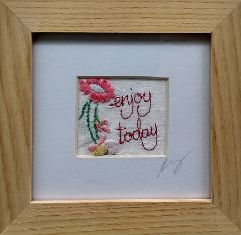 Embroidered Small 'Enjoy Today' Frame