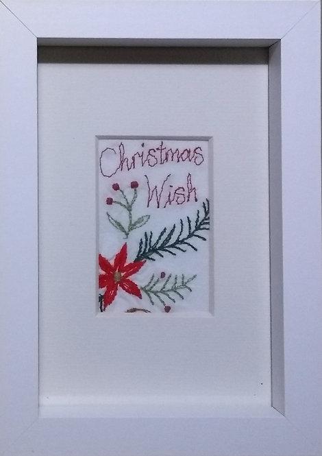 Embroidered 'Christmas Wish' frame