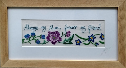 Embroidered 'mum' frame