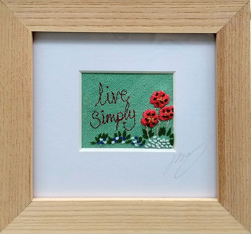 Embroidered Small 'Live Simply' Frame