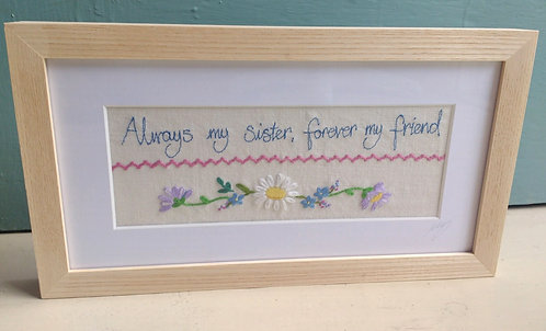 Embroidered 'Sister' Frame