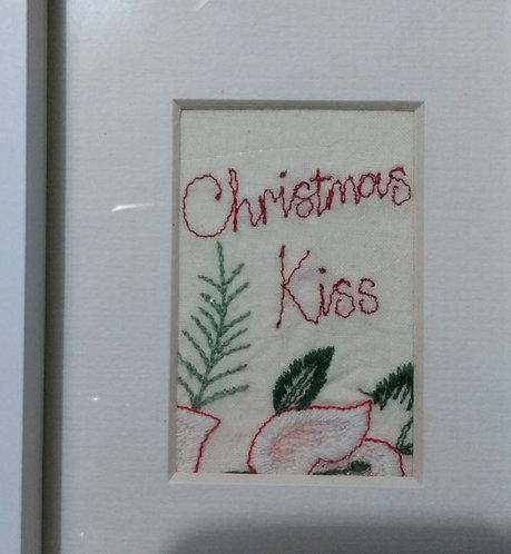 Embroidered 'Christmas Kiss' frame