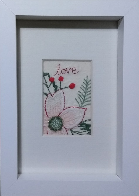 Embroidered 'love' frame