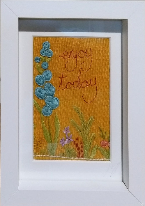 Embroidered 'enjoy today' frame
