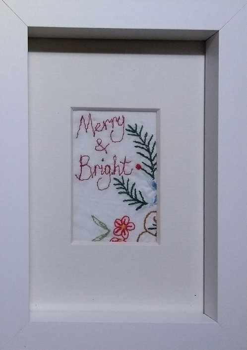 Embroidered 'Merry & Bright' frame