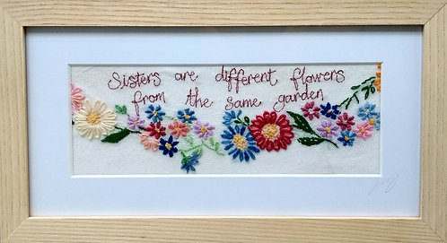 Embroidered 'Sisters' Frame