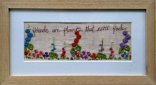 Embroidered 'friends' frame