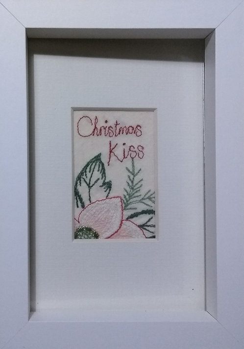 Embroidered 'Christmas Kiss' frame