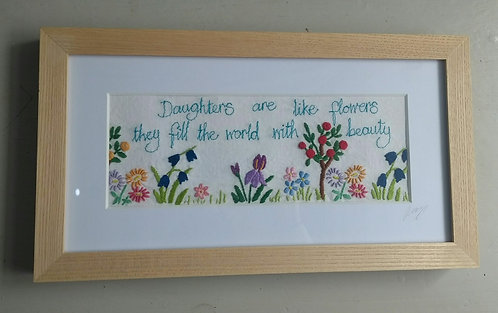 Embroidered 'Daughters' Frame