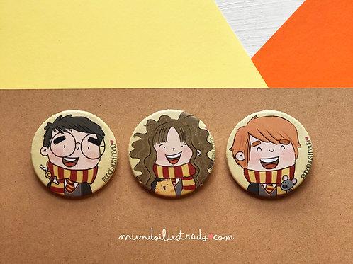 """Chapas """"Harry Potter"""" (Fan Art)"""