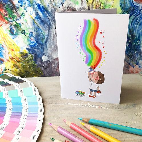 "Tarjeta ""Pintando arcoiris"""
