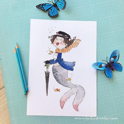 """Lámina Sirena """"Mary Poppins"""""""