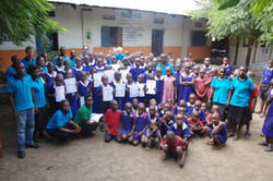Teachers and pupils at the RAP-CD Primary School