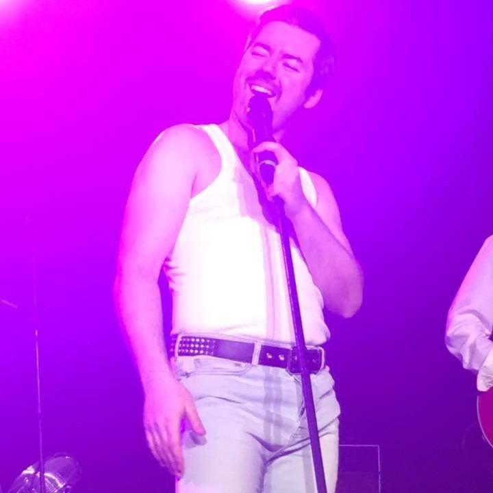 Seth Daniels as Freddie Mercury at Burgees Hall, St Ives