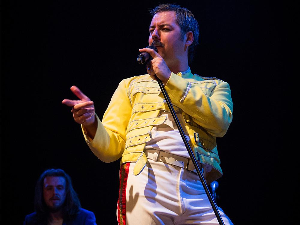 Seth Daniels performing as Freddie Mercury in Queen Tribute Band Majesty