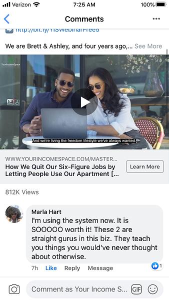 Marla Hart - Facebook Comment Testimonia
