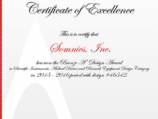 Somnics, Inc. has been granted the famous Bronze A' Design Award