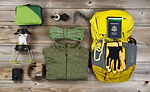 Climbing gear for hiking on rustic woode