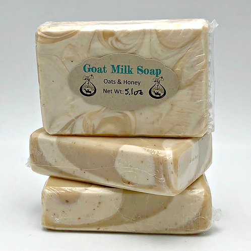 Oatmeal & Honey Goat Milk Soap with Local Honey and Ground Oats