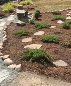 Walkway and Mulch Beds