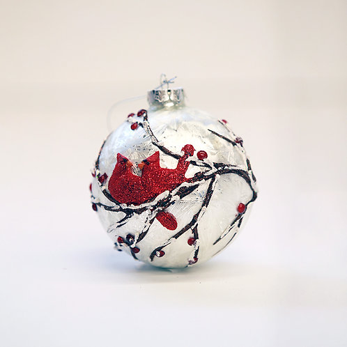 Glass Ball Ornament with Cardinals