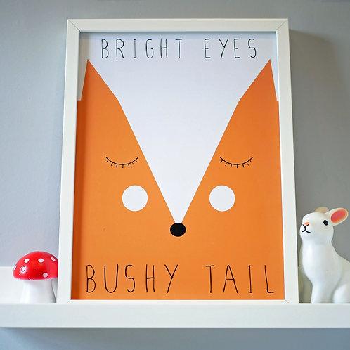 Cute Fox Kids Wall Art by Happy Paper