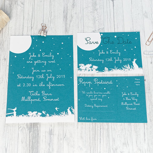Rustic Midnight Meadow Wedding Stationery by Happy Paper