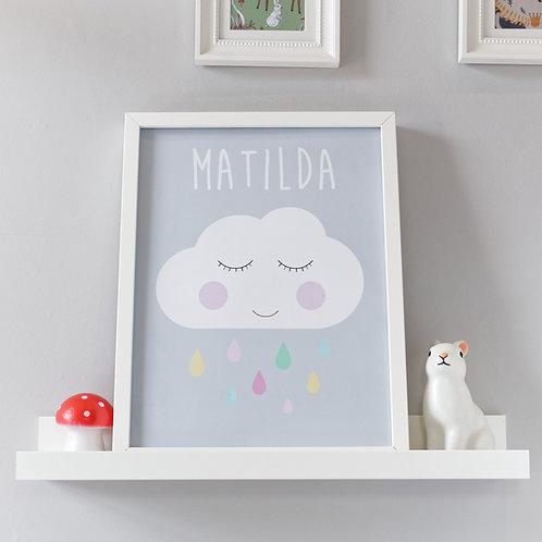 Personalised sleepy cloud kids wall art