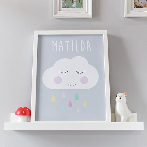 Personalised sleepy cloud kids wall art