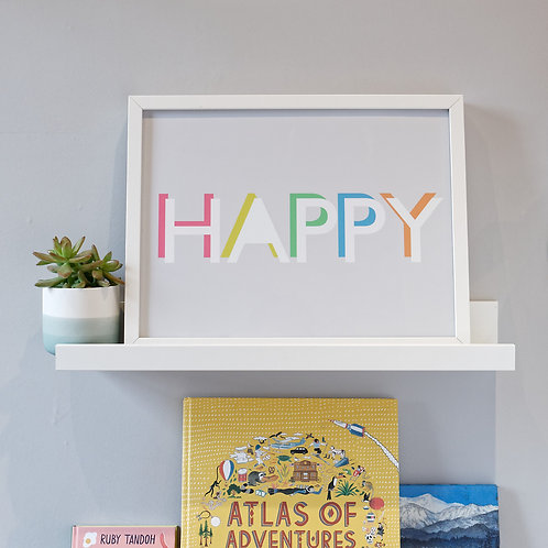 Colourful HAPPY print wall art