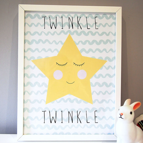 Cute sleeping star kids wall art by Happy Paper