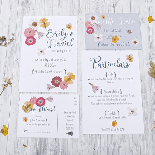 Pressed flowers country wedding stationery by Happy Paper