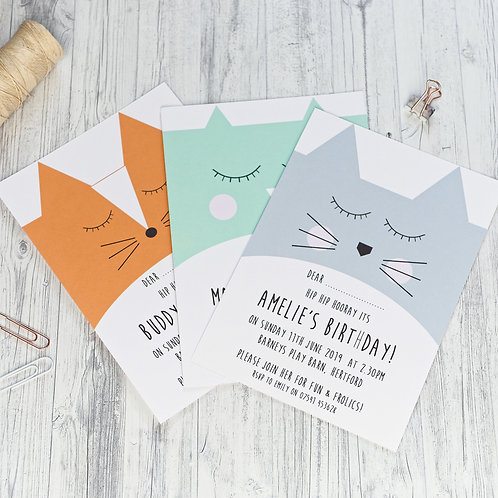 Cute animal face birthday invitations