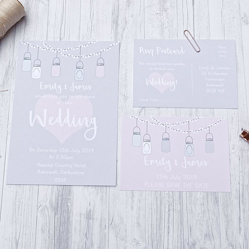 Hanging jars quirky wedding stationery by Happy Paper