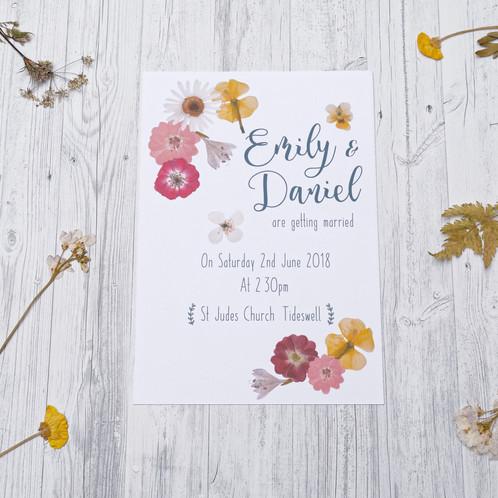 Pressed Flowers Unique Wedding Invitation