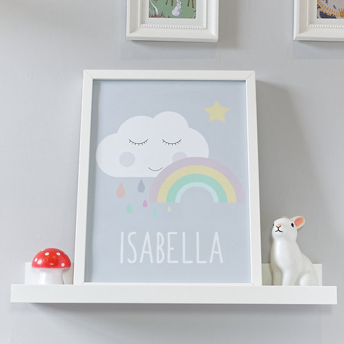 Personalised sleepy cloud and rainbow kids wall art