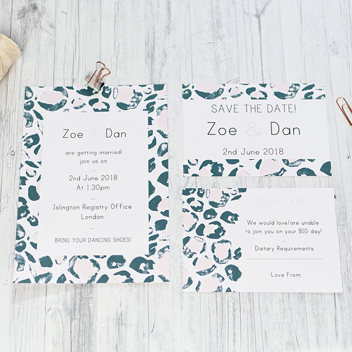 Leopard Print wedding stationery by Happy Paper