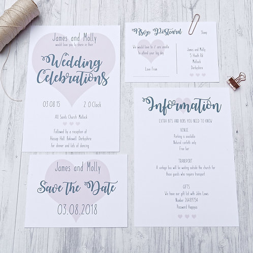 Pink heart quirky wedding stationery by Happy Paper