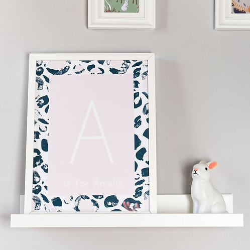 Personalised Pink Leopard Print Initial Kids Wall Art by Happy Paper